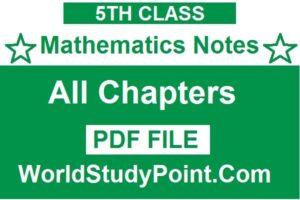 5th Class Mathematics Notes