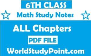 6th Class Math Study Notes