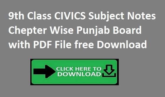 9th Class CIVICS Subject Notes