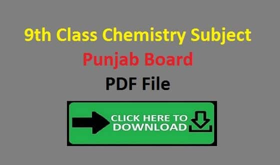 9th Class Chemistry Subject Notes