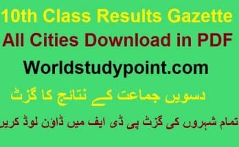 10th Class Results Gazette